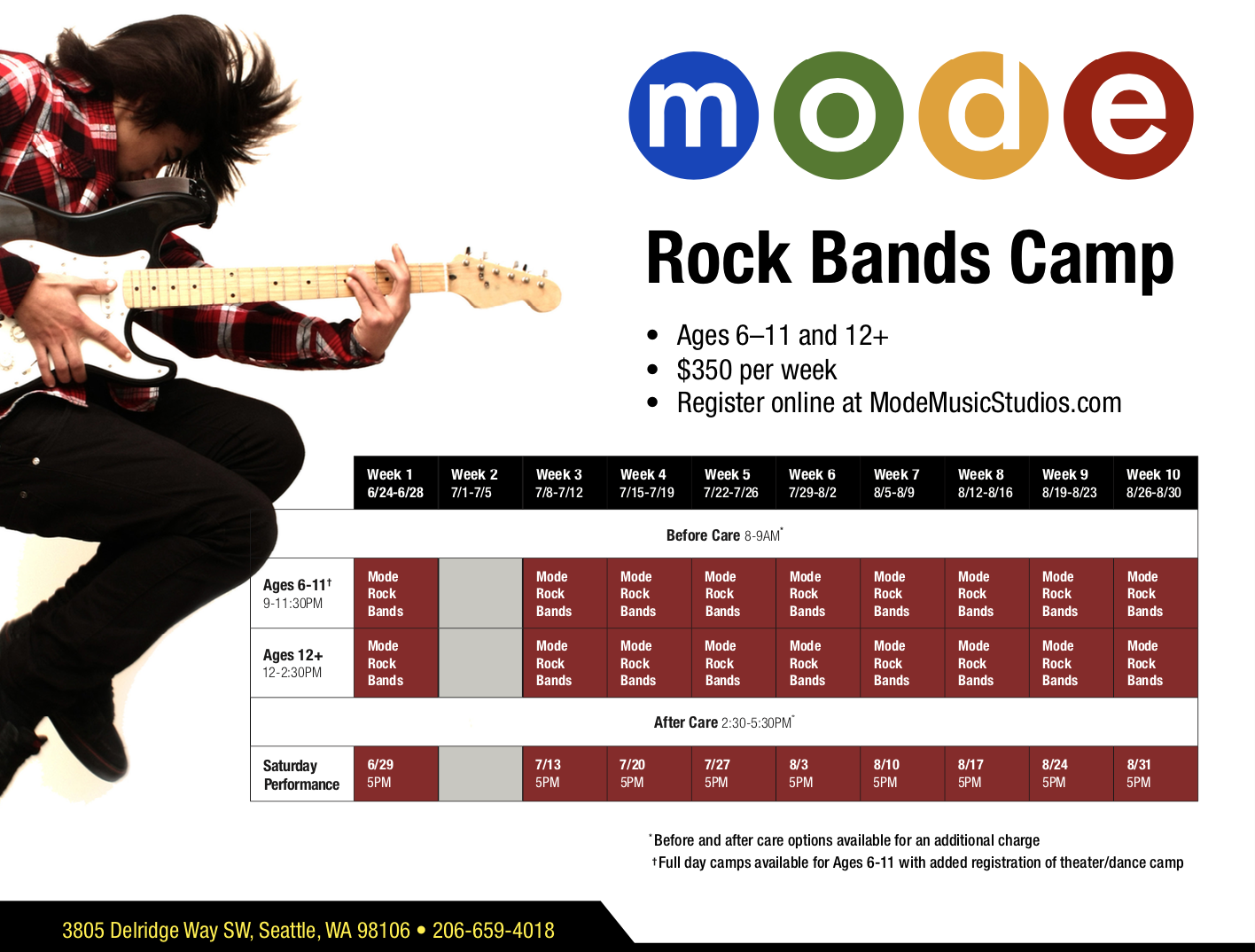 Rock Band Camp schedule