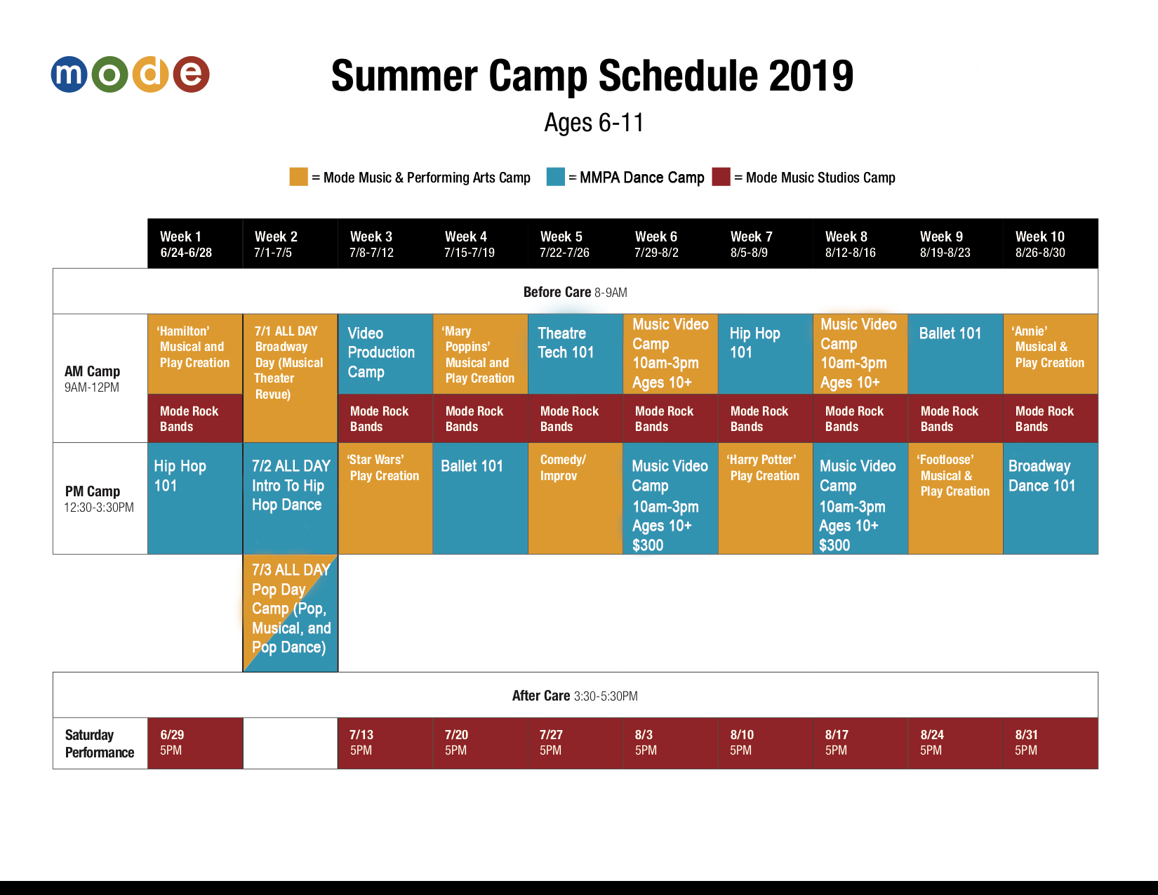 summer camps schedule